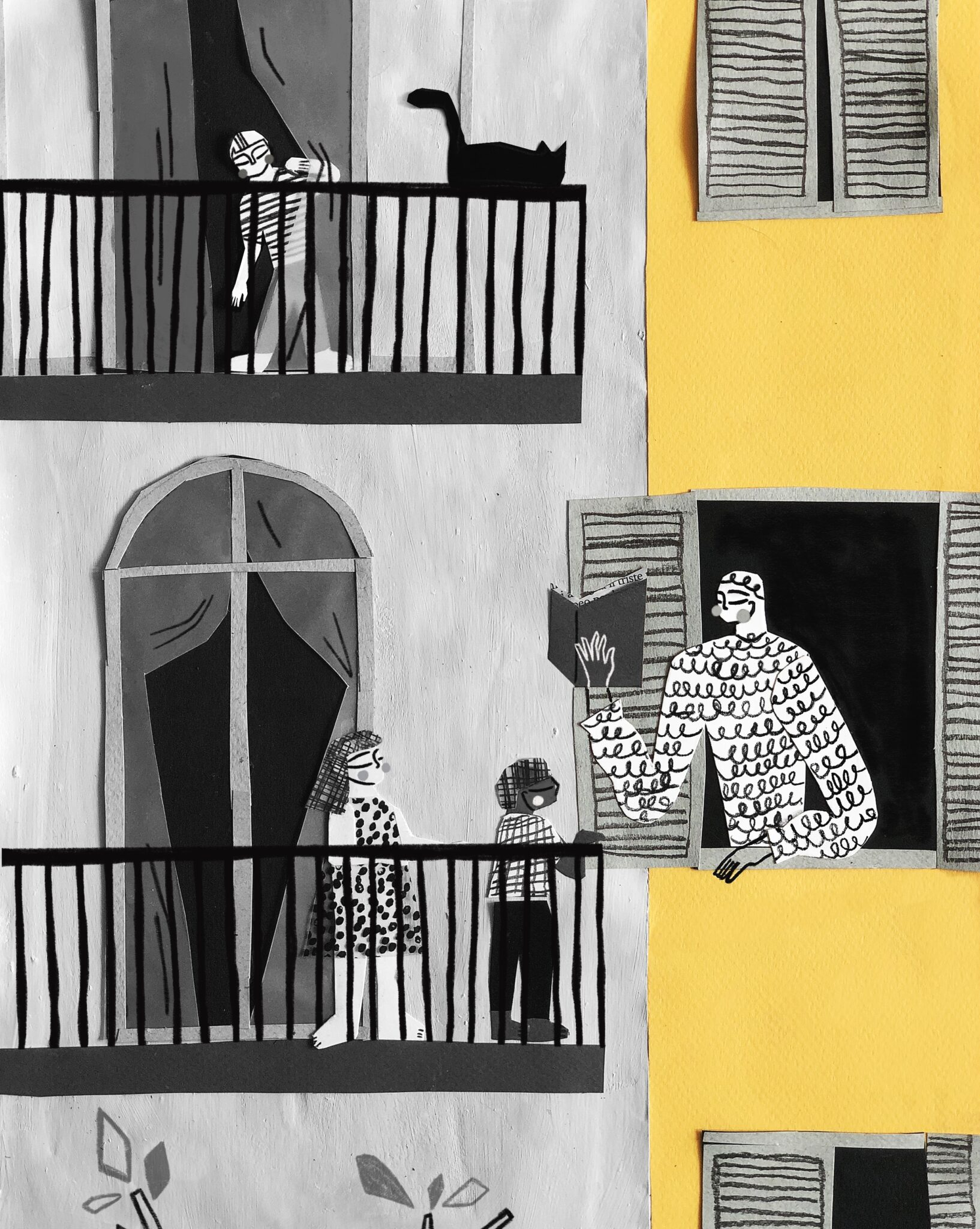 drawn image of neighbors - adult reading, children, and child and cat, on different balconies overlooking street. one building black and white; the other is painted yellow